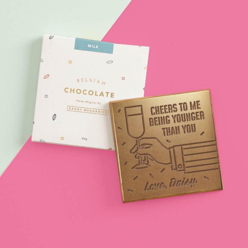 Personalised Cheers Birthday Chocolate Card