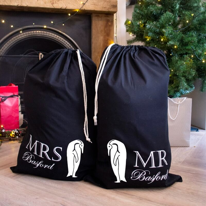 Personalised Couples Penguin Christmas Sacks