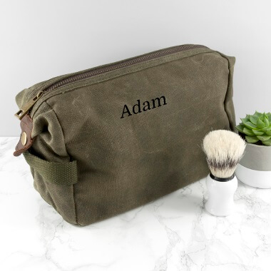 Personalised Men's Vintage Canvas Washbag