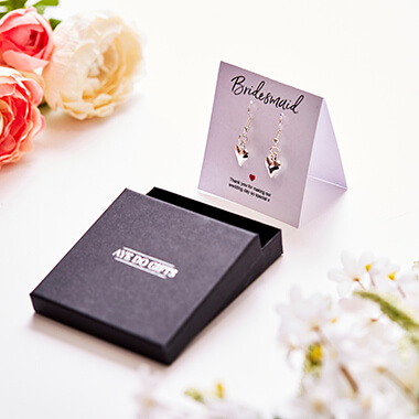 Bridesmaids Heart Earrings & Thank You Card