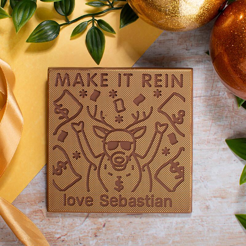 Personalised Make It Rein Chocolate Christmas Card