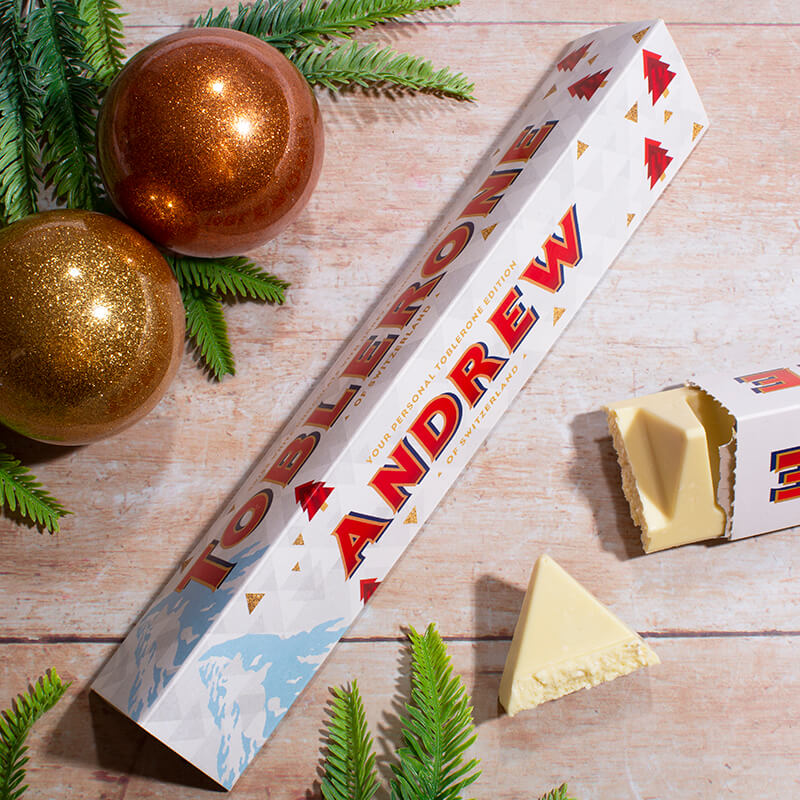 Personalised White Christmas Toblerone Bar