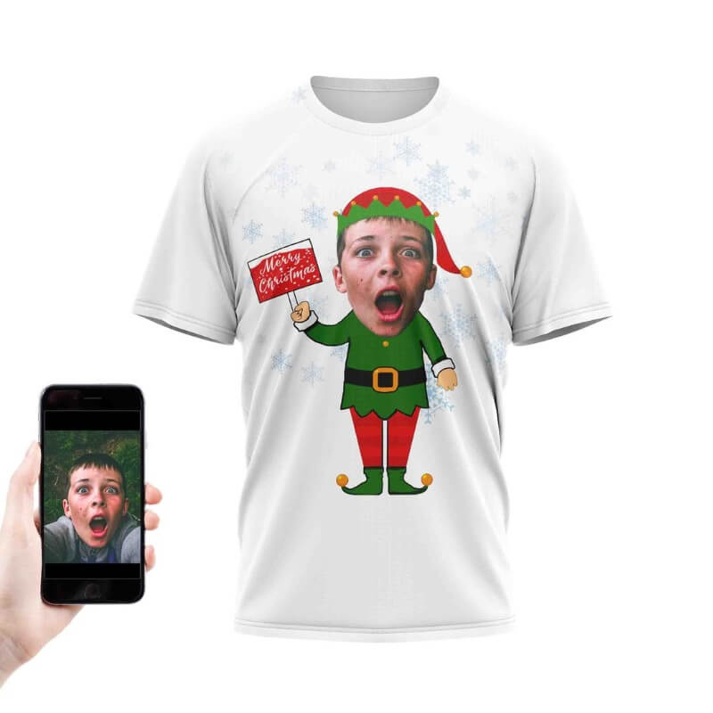 Personalised Elf Yourself Face T-shirt