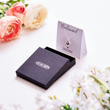 Bridesmaids Heart Necklace & Thank You Card