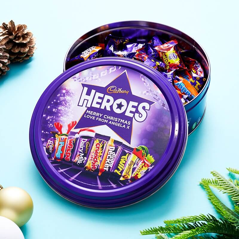 Personalised Cadburys Hero Christmas Tin
