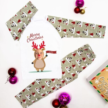 Personalised Reindeer Yourself Christmas Photo Pyjamas