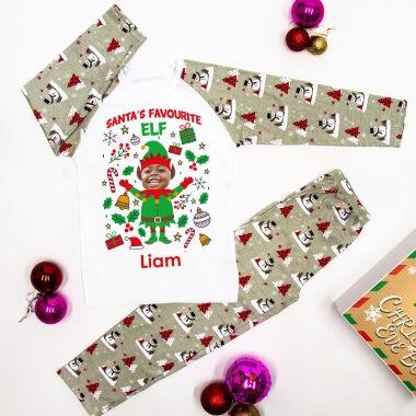 Personalised Elf Yourself Children's Photo Pyjamas - Grey