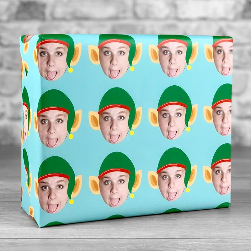 Personalised Photo Upload Elf Gift Wrap - Teal