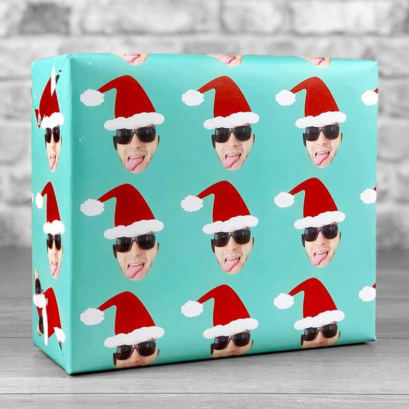 Personalised Santa Photo Upload Gift Wrap - Teal