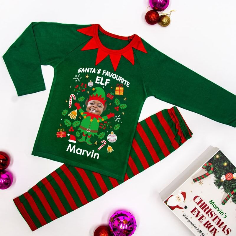 Personalised Elf Yourself Children's Photo Pyjamas - Green
