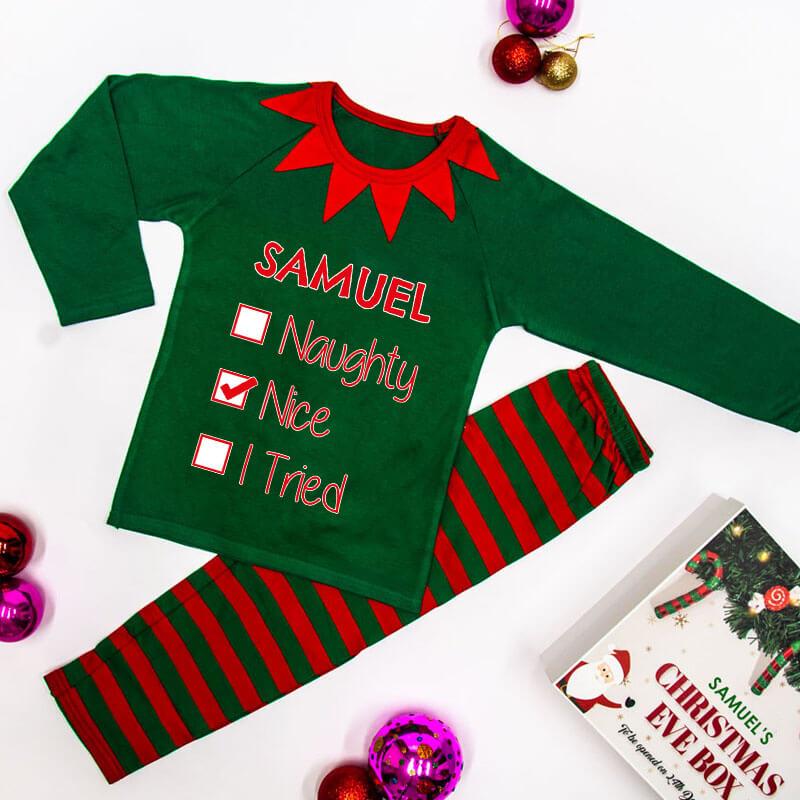 Personalised Naughty or Nice Children's Photo Pyjamas - Green