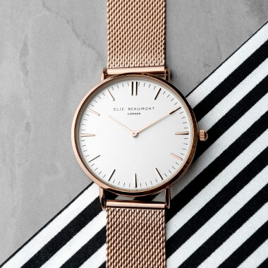 Personalised Rose Gold Mesh Strapped Watch - White Dial
