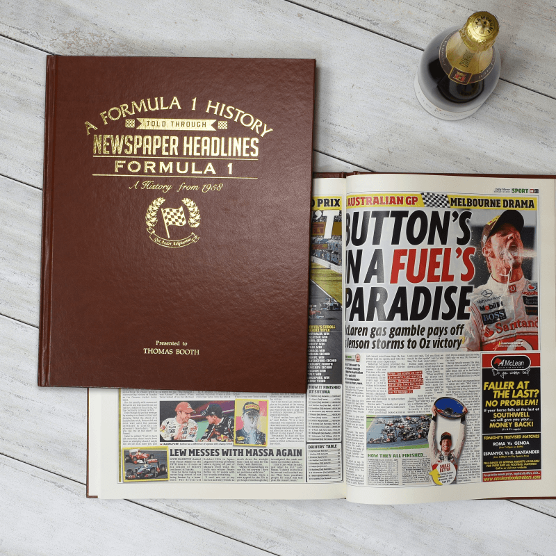 Personalised A4 Formula 1 Newspaper Book
