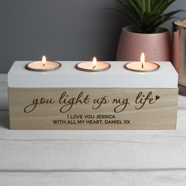 Personalised Tripple 'Light Up My Life' Tea Light Holder
