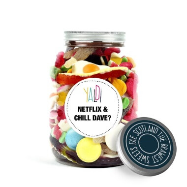Personalised Valentines Greedy Guts Sweets Jar