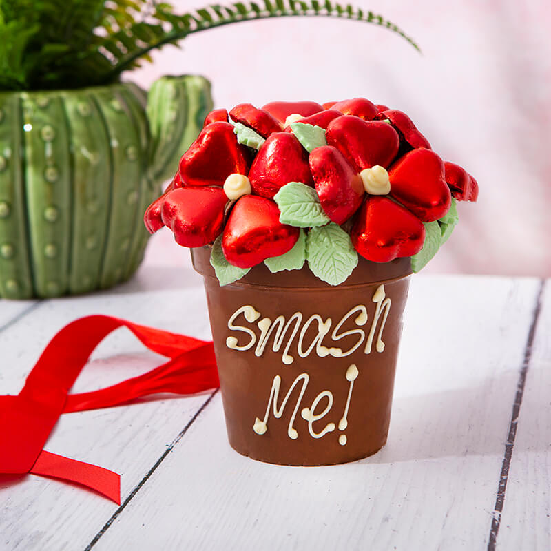 Personalised Smash Flower Pot - Red