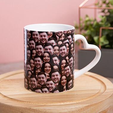 Personalised Multi Face Heart Handle Mug