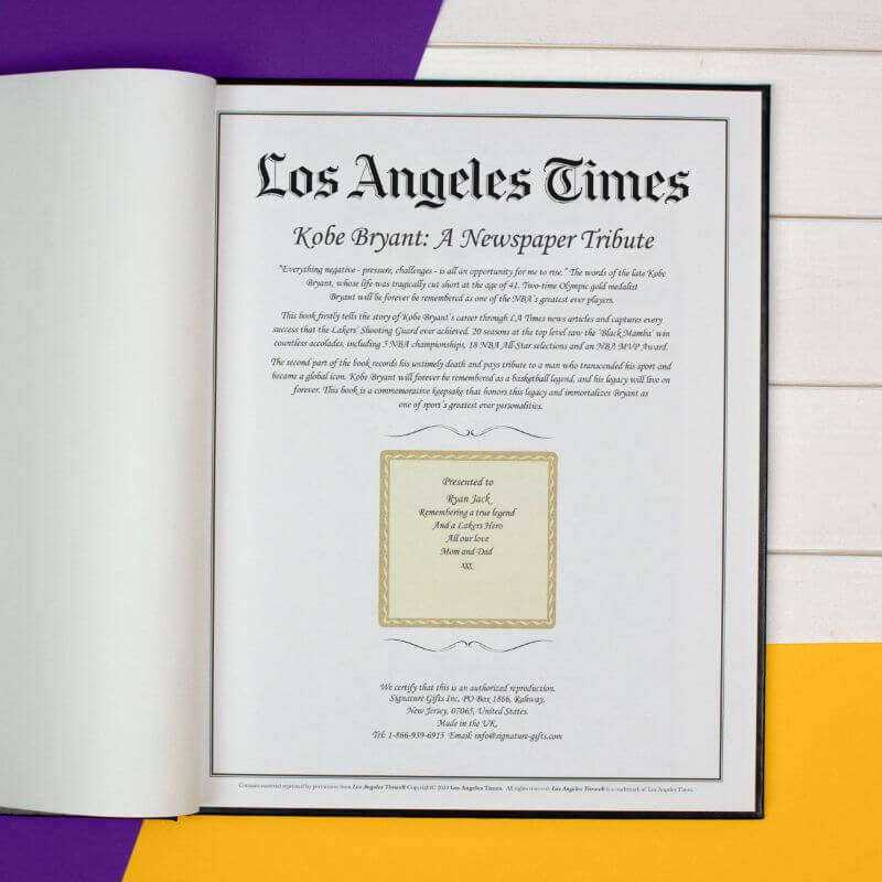 Personalised LA Times Newspaper Book: A Kobe Bryant Tribute