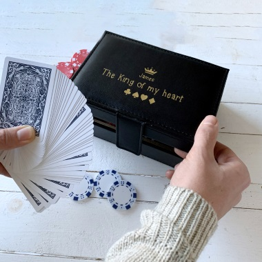 Personalised King Of My Heart Poker Set