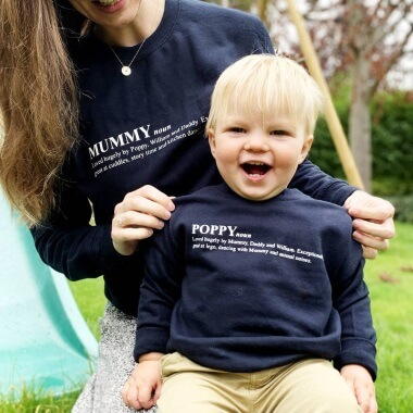 Personalised Dictionary Definition Mummy And Baby Sweatshirts