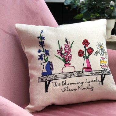 Personalised Birth Flower Shelf Cushion
