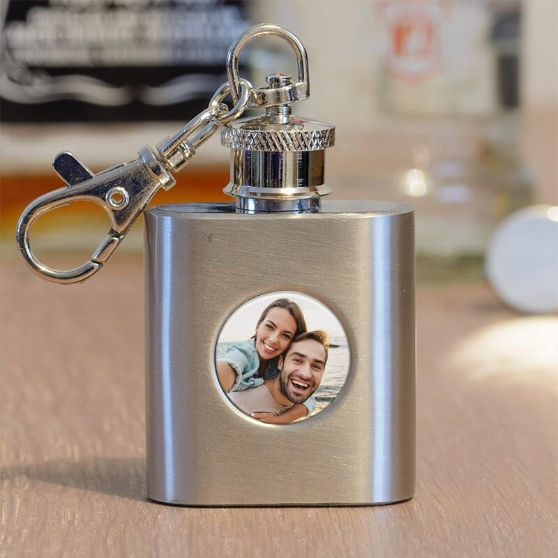 Personalised Photo Keyring Hip Flask