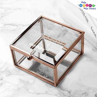 Help Harry Help Others Personalised Square Rose Gold Glass Trinket Box
