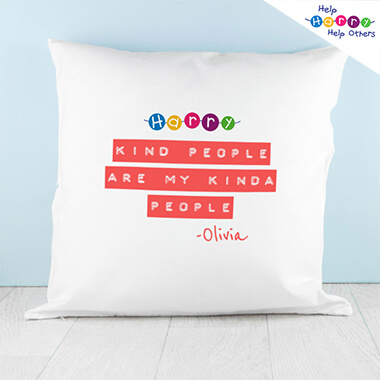 Help Harry Help Others Personalised Kind People Cushion Cover