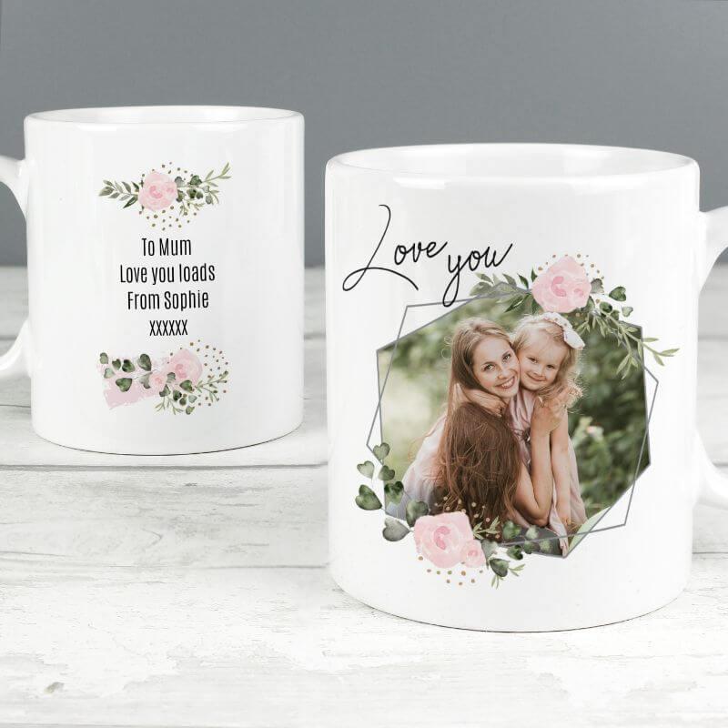 Floral Geometric Photo Mug