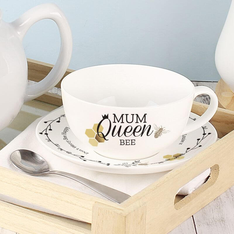 Personalised Queen Bee Cup and Saucer