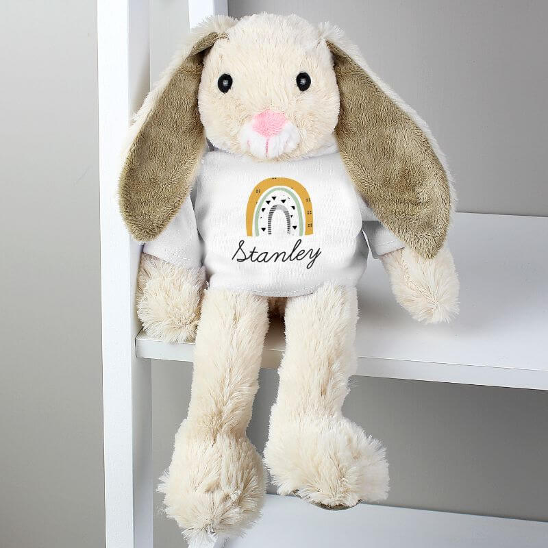 Personalised Rainbow Bunny Rabbit In T-Shirt