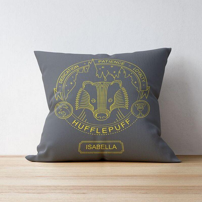 Personalised Hufflepuff House Emblem Cushion