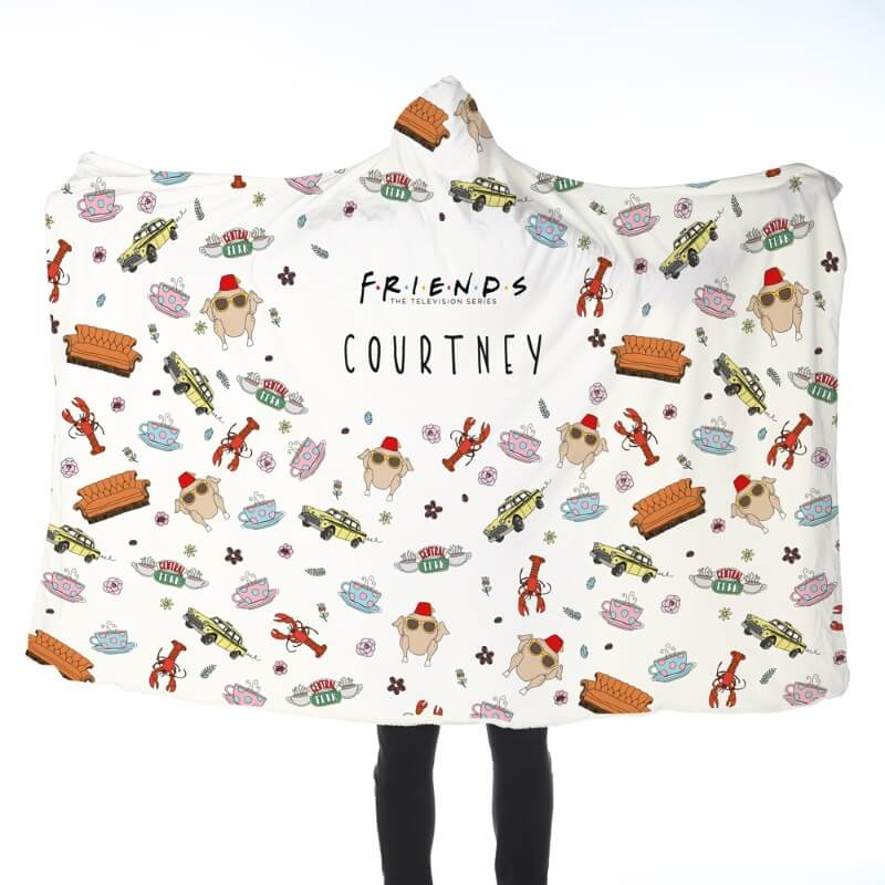 Personalised Friends Patterned Adults Hooded Blanket
