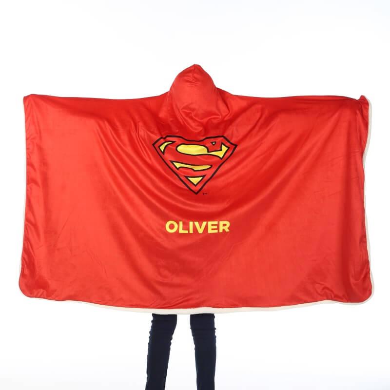 Personalised Superman Kids Hooded Blanket