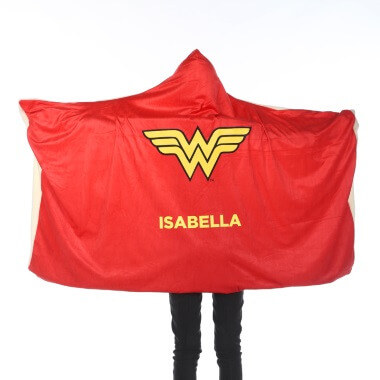 Personalised Wonder Woman Kids Hooded Blanket