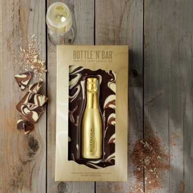 Bottle 'N' Bar Prosecco Gold and Milk, White & Dark Chocolate