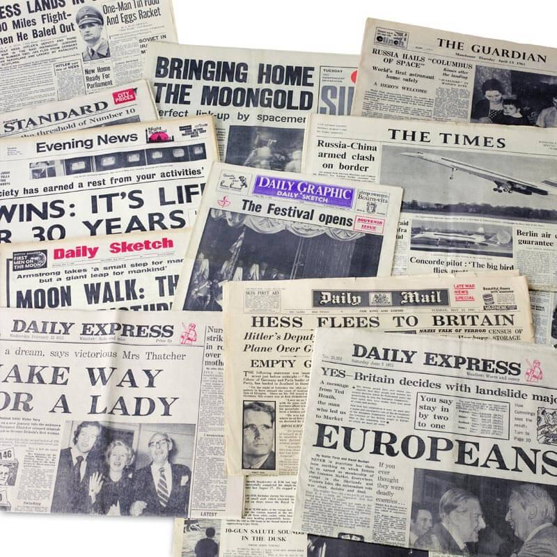 Original Newspaper 50th Birthday in a Gift Box