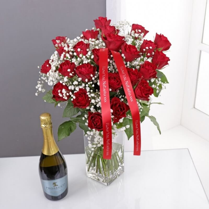 Personalised 24 Red Roses Bouquet & Prosecco