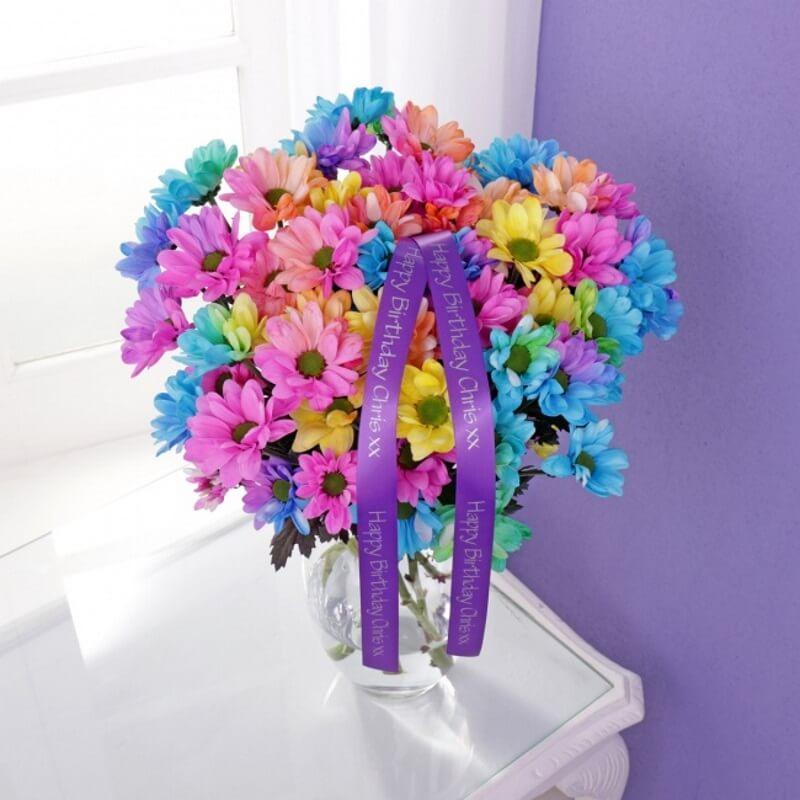Personalised Rainbow Chrysanthemums