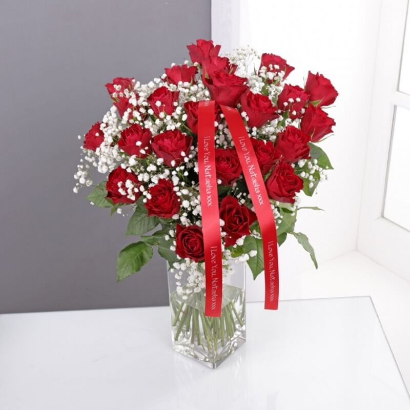 Personalised Dozen Red Roses & Gypsophila Bouquet
