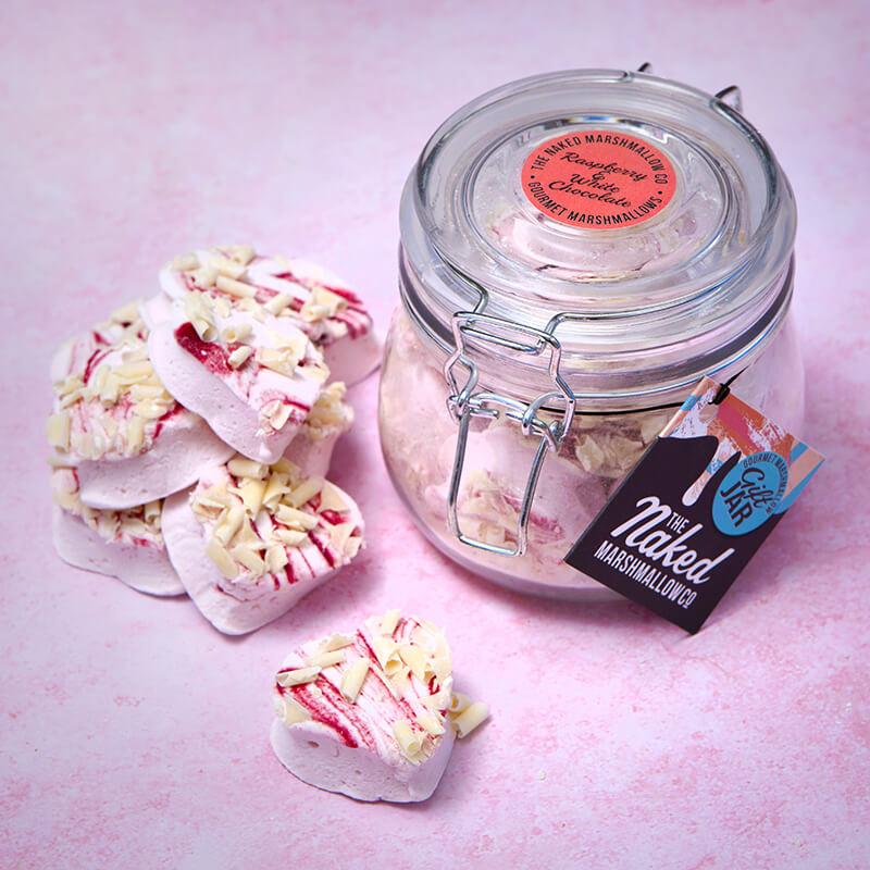 Raspberry & White Chocolate Marshmallow Heart Gift Jar