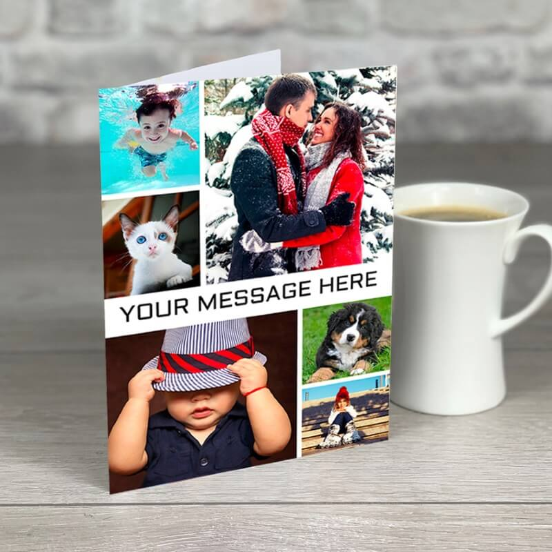 Personalised A5 6 Photo Card with Message