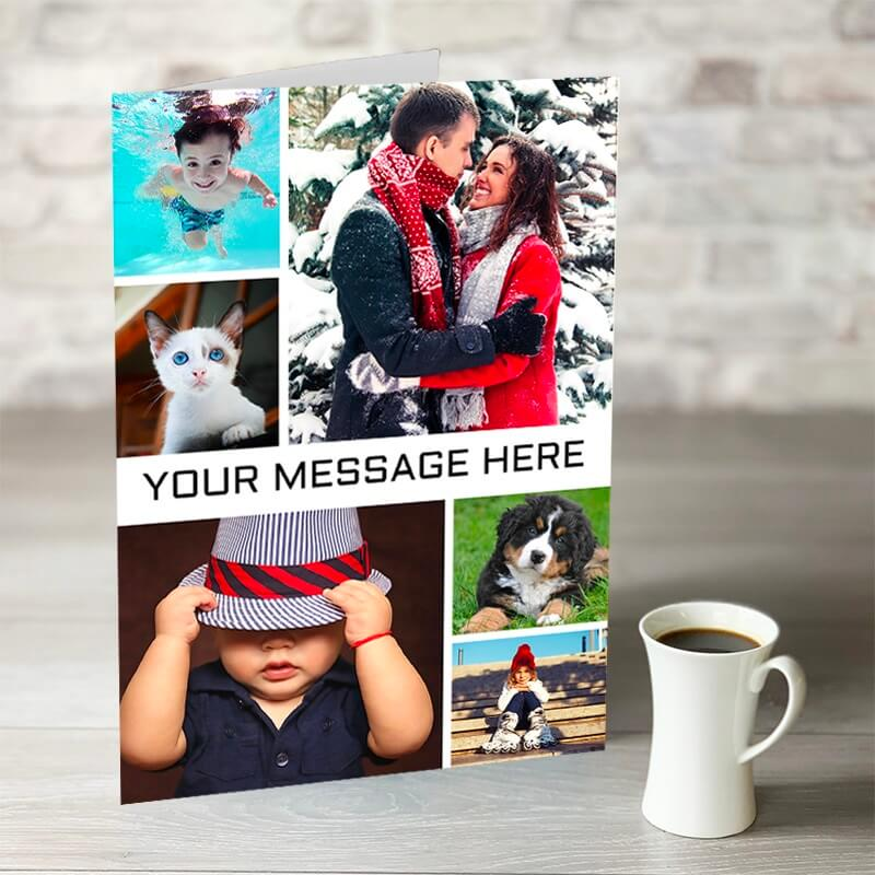 Personalised XL 6 Photo Card with Message