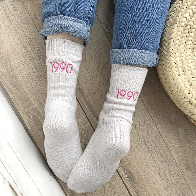 Personalised Embroidered Year Socks