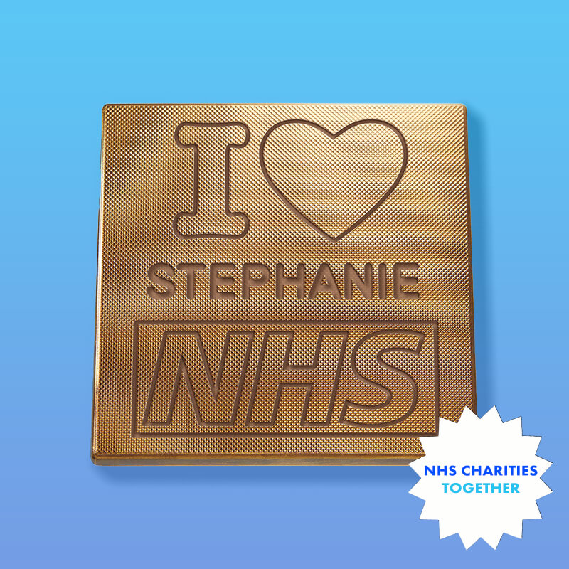 Personalised I Heart NHS Charity Chocolate Card
