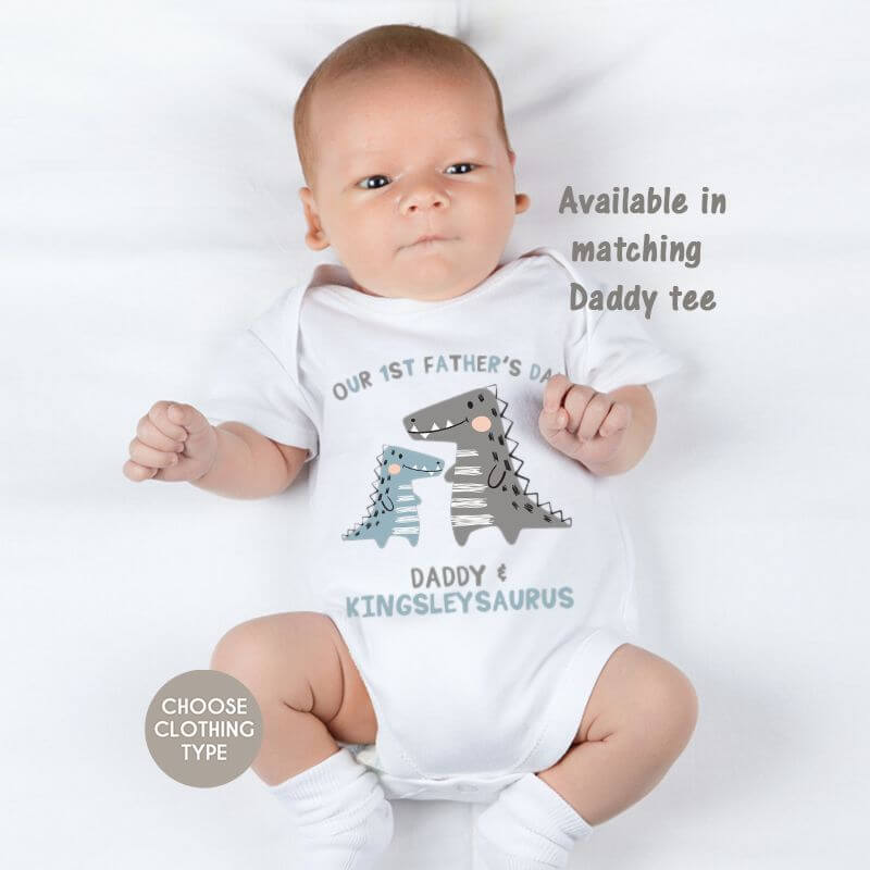 Personalised Matching Daddy And Me - Dino First Fathers Day Baby Grow, T Shirt or Romper