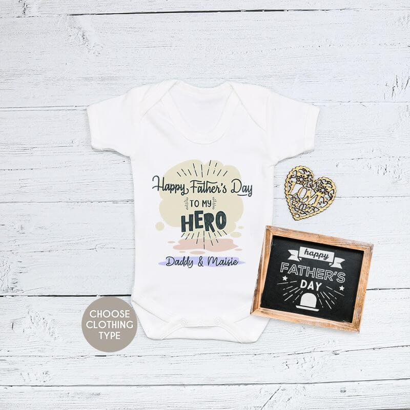 Personalised Fathers Day Hero Baby Grow, T Shirt or Romper