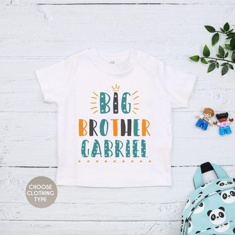 Personalised Colourful Big Brother T Shirt