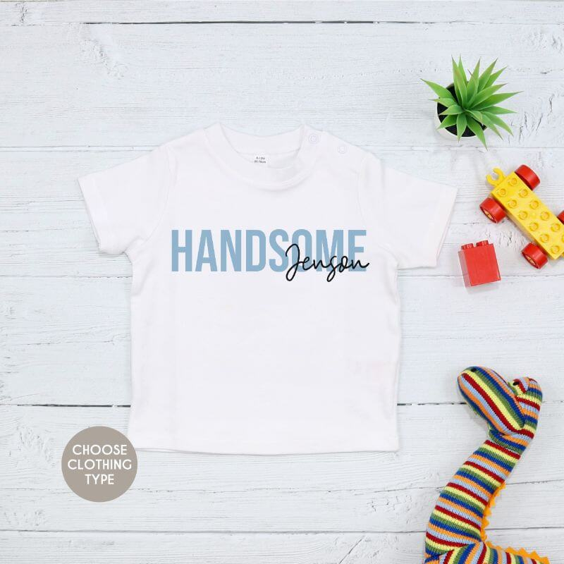 Personalised Boys Description T-Shirt, Baby Grow or Romper