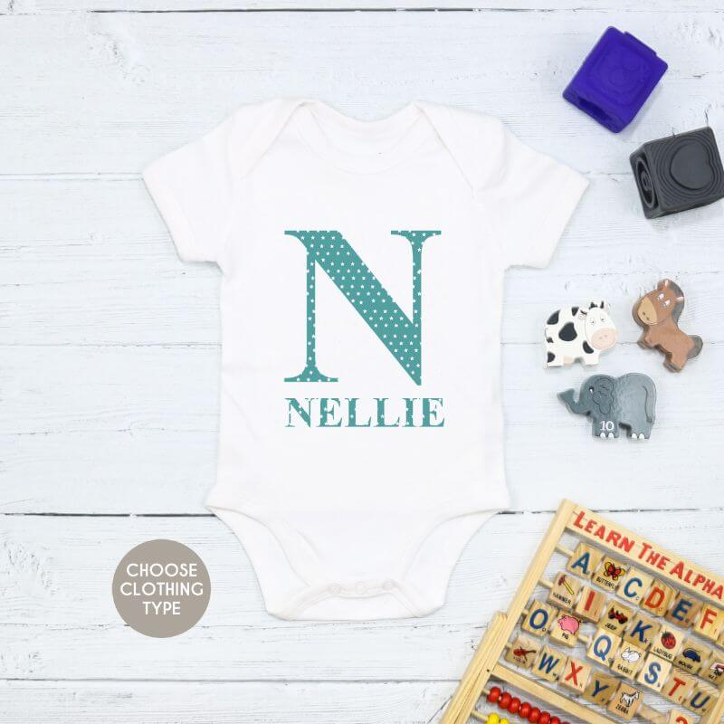 Personalised Star Name and Initial Baby Grow, T Shirt or Romper
